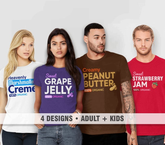 Matching Costume T Shirts for Family | Holiday Tshirts, Adult Men Women Kids, Peanut Butter Jelly Tee, Funny Best Friends T Shirt, Siblings