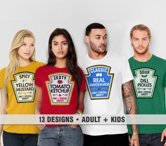 Matching Shirts, Family Costume Tshirts | Best Friends Tees, Funny T Shirt Families, Adult Men Women Kids, Ketchup Mustard Mayo Pickles Set