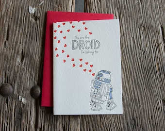You are the droid im looking for, letterpress printed eco friendly