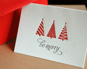BE MERRY Holiday Card, Modern tree design (letterpress printed) red envelopes eco-friendly