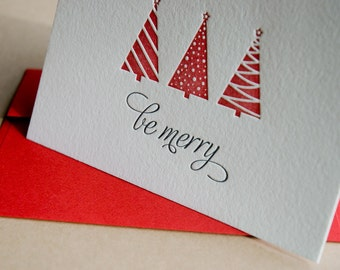 15 BE MERRY Holiday Cards, modern trees (letterpress printed) - Set of 15