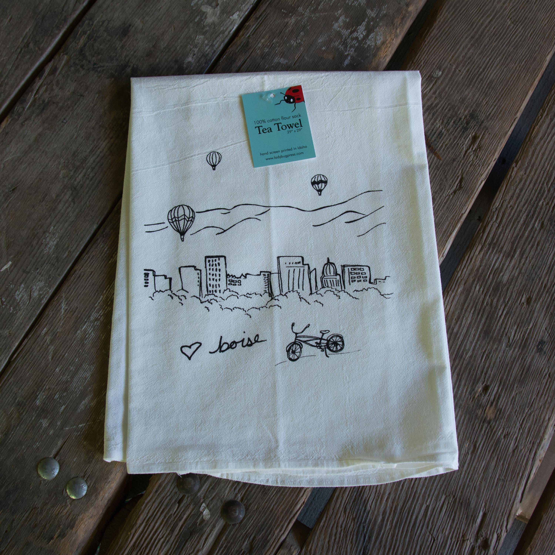 Boise Balloon Screen Printed Tea Towel flour sack towel | Etsy