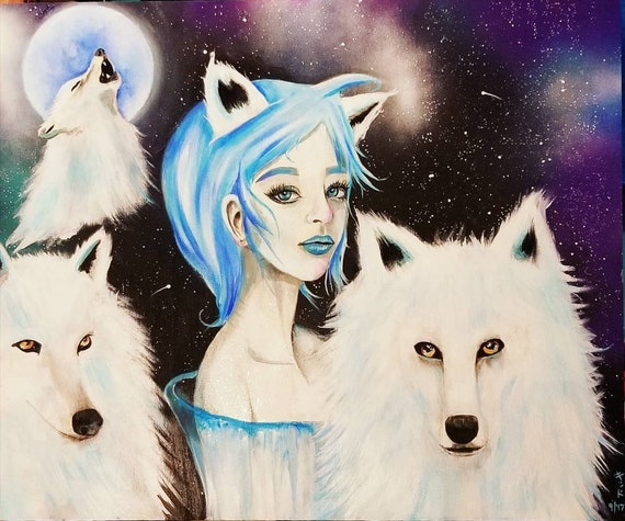 24 X 20 Original Painting Wolves - pictures of wolves with a galaxy background