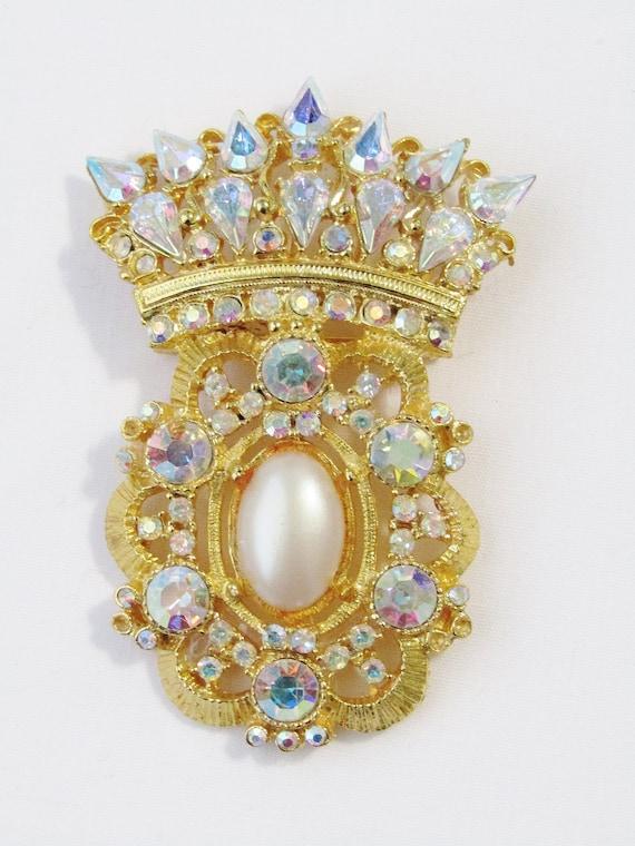 Vintage R. Serbin Crest Aurora Borealis Rhinestone