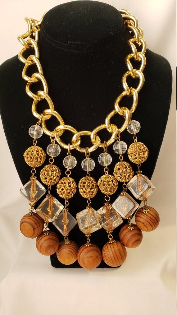 Vintage Wood Lucite Goldtone Chain Necklace