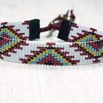 Bead Woven Bracelet - Tribal Beaded Bracelet - Southwestern Jewelry - Womens Bracelet - Adjustable Bracelet - Gifts For Her - Under 30