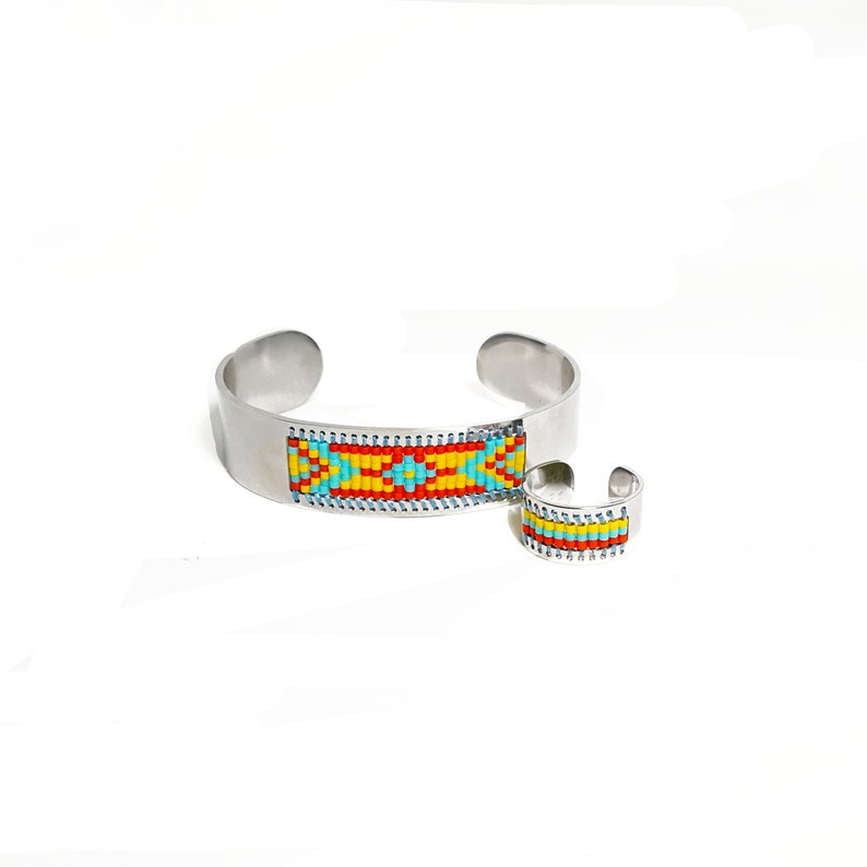 Womens Jewelry Beaded Ring Gifts for Her Beaded Adjustable Ring
