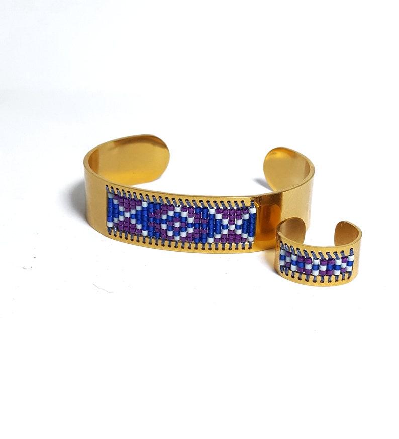Patriotic Bracelet Seed Bead Bracelet Independence Day Jewelry
