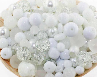 Glass Bead Mix Assorted 100 White Color Combination 6mm to 12mm - BMX032