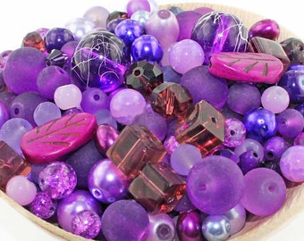 Glass Bead Mix Assorted 25 Purple Color Combination 6mm to 12mm - BMX005