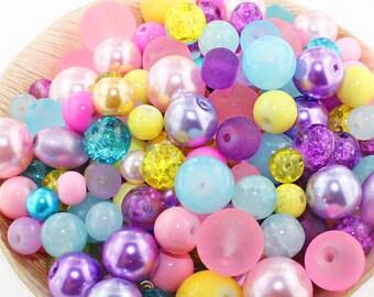 Unicorn Glass Bead Mix Assorted 100 Beads 6mm to 12mm - BMX042
