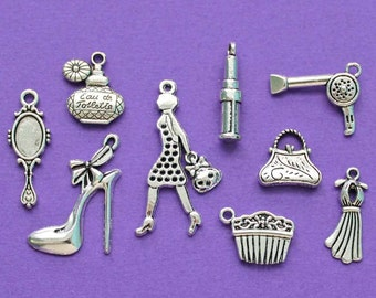 Fashion Charm Collection Antique Silver Tone 9 Different Charms - COL030