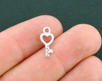 20 Tiny Key Charms Antique Silver Tone 2 Sided - SC5760