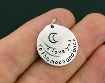 4 I Love You to the Moon and Back Charms Antique Silver Tone 3 Part Charms - SC5782