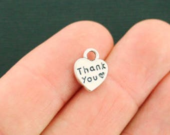 6 Thank You Charms Antique Silver Tone SC2549