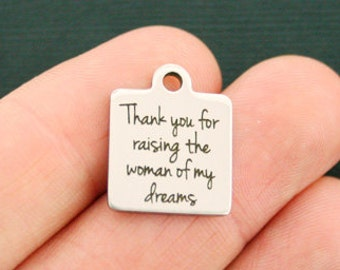 SC7039 4 Mother in Law Charms Antique Silver Tone Thank you for raising
