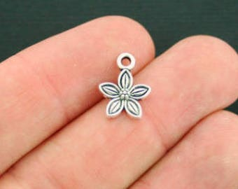 18 Flower Charms Antique  Silver Tone - SC747