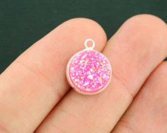 4 Pink Druzy Charms Bubblegum Pink Sparkle Resin Druzy Cabochon in Silver Tone Setting - HM092