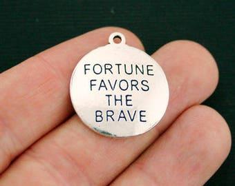 4 Brave Charms Antique Silver Tone - Fortune Favors the Brave - SC7046