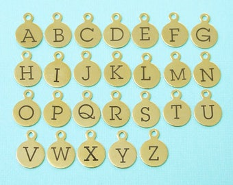 4 Gold Stainless Steel Letter Charms - Choose Your Initial - Uppercase Alphabet - ALPHA1300BFSGOLD-IND