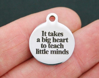 It takes a big heart SC2671 6 Teacher Charms Antique Silver Tone