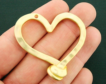 Heart Pendant Charm Gold Tone Large Size Matte Finish - GC1077