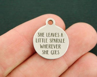 Sparkle Stainless Steel Charms - She leaves a little sparkle wherever she goes - Exclusive Line - Quantity Options - BFS1336