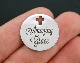 Amazing Grace Stainless Steel Charm - Exclusive Line - Quantity Options - BFS809