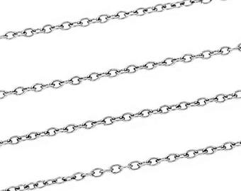 BULK Stainless Steel Link Cable Chain - 6.5ft Dainty 1.5mm x 1mm Chain - FD067