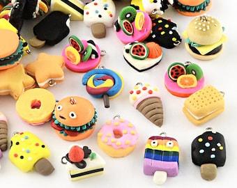 5 Polymer Clay Charms Cute Assortment of Handmade Food - E395