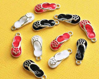 5 Flip Flop Charms Silver Plated Enamel Assorted Colors- E099