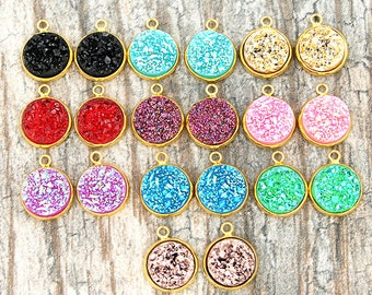 20 Mixed Druzy Pendants Assorted Colors with Gold Tone Cabochon 18.5mm x 14mm HMCOL12