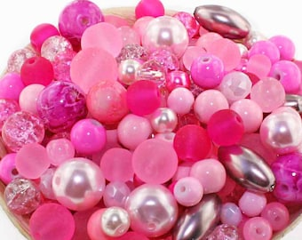 Glass Bead Mix Assorted 100 Pink Color Combination 6mm to 12mm - BMX030