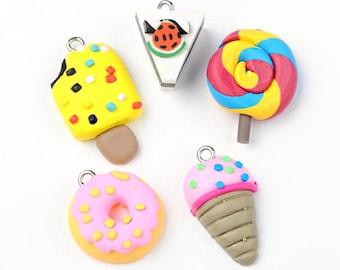 5 Polymer Clay Charms Cute Assortment of Handmade Food - E400