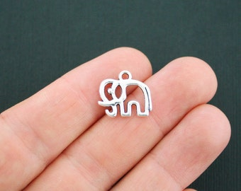 10Pcs Tibetan Silver Tone Animal Elephant Head Charms Pendants 22x25mm