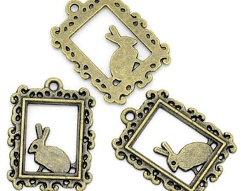 10 Bunny Charms Antique Bronze BC094
