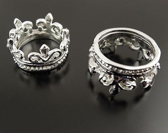 10 Crown Charms Antique Silver Tone Arched Design SC2882