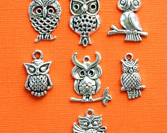Owl Charm Collection Antique Silver Tone 9 Different Charms COL005