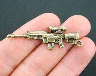 Huge Gun Charm Pendant Antique Bronze Tone 3D 2 Sided BC921