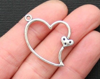 SC772 BULK 50 Hearts Charms Antique Tibetan Silver Tone Double Intertwined