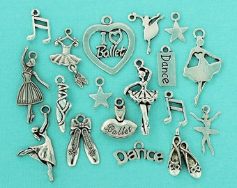 10 Ballet Tutu Charms Antique Silver 2 Sided SC2457