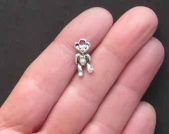 SC7236 BULK 60 Teddy Bear Charms Antique Silver Tone 2 Sided