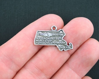 10 Mississippi Charms Antique Silver Tone State Charm SC3432