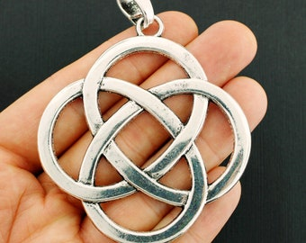 SC1332 2 Celtic Knot Charms Antique Silver Tone 2 Sided Large Size