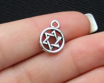 SC613 BULK 50 Star of David Charms Antique Silver Tone
