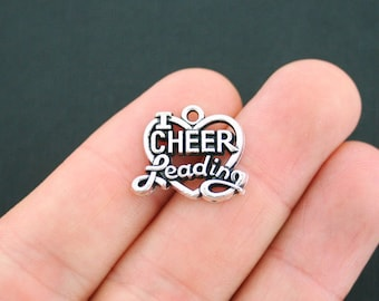 4 I love cheer leading  charms antique silver tone SP84 Beads & Jewellelry Making Supplies Jewellery Making Charms & Pendants
