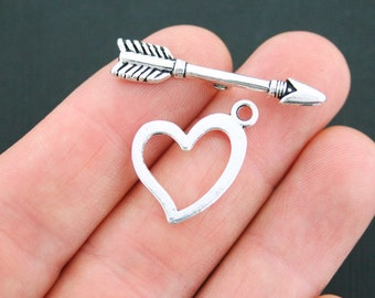 8 Toggle Clasp Sets Antique Silver Tone Heart and Arrow Toggle - SC5051