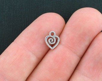 12 Heart Charms Antique Silver Tone 2 Sided - SC1111