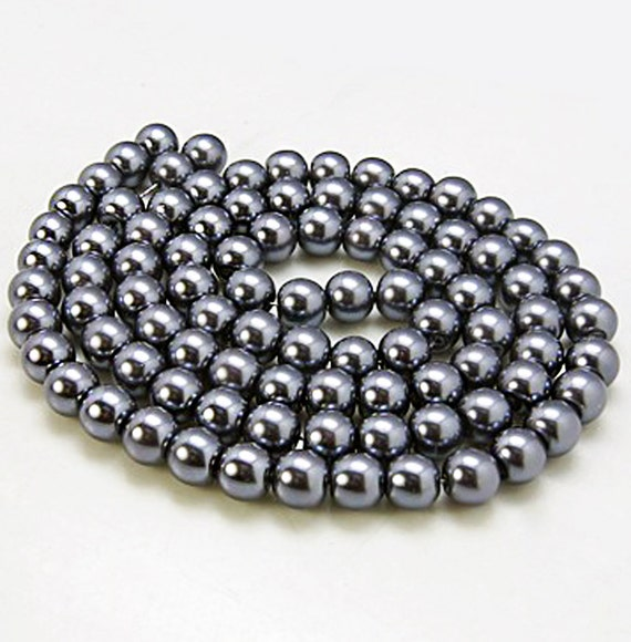 Grey Pearl Beads: 140 Glass Beads 6mm Faux Dark Grey Pearl Strand BD372