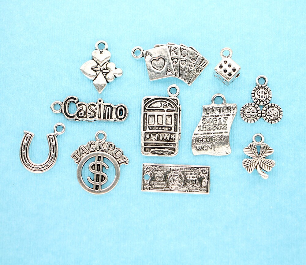COL057 Hippie Charm Collection Antique Silver Tone 11 Different Charms